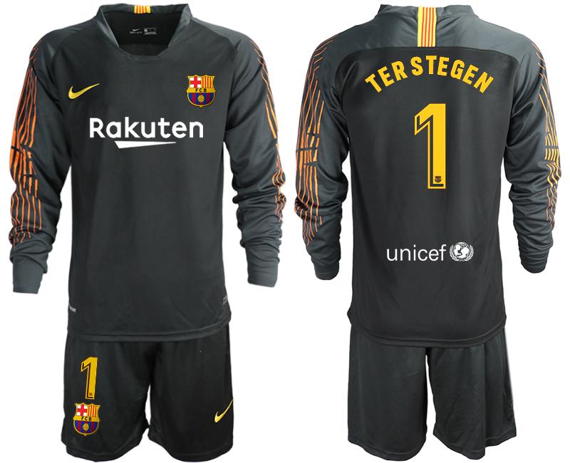 2018-19 Barcelona 1 TER STEGEN Black Long Sleeve Soccer Jersey