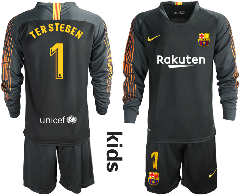 2018-19 Barcelona 1 TER STEGEN Black Long Sleeve Goalkeeper Soccer Jersey