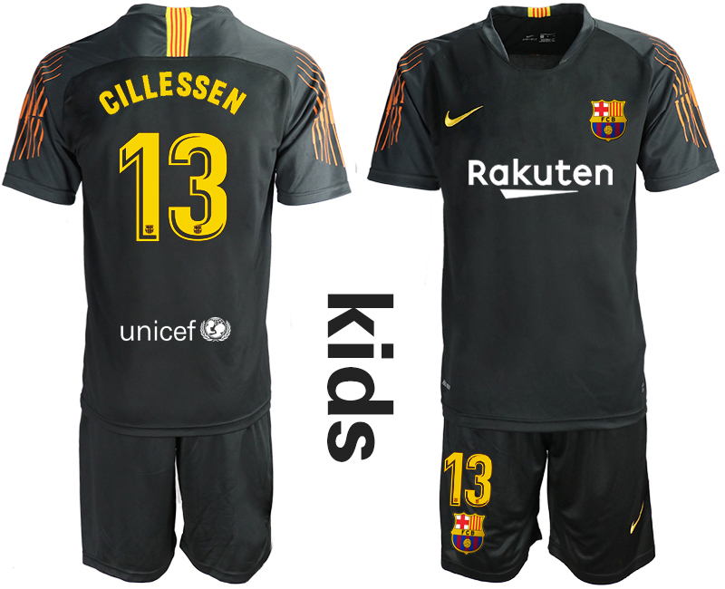 2018-19 Barcelona 13 CILLESSEN Black Youth Goalkeeper Soccer Jersey