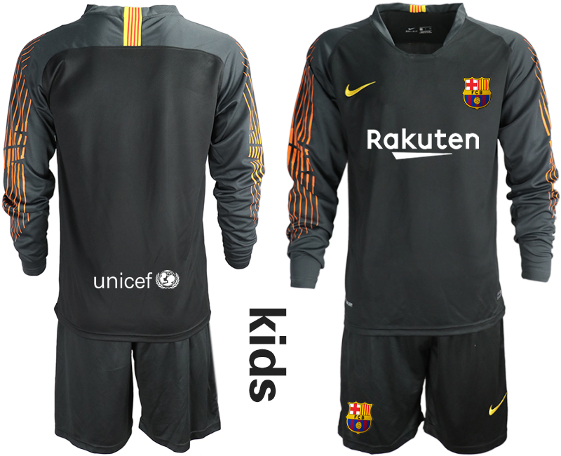 2018-19 Barcelona Black Long Sleeve Goalkeeper Soccer Jersey