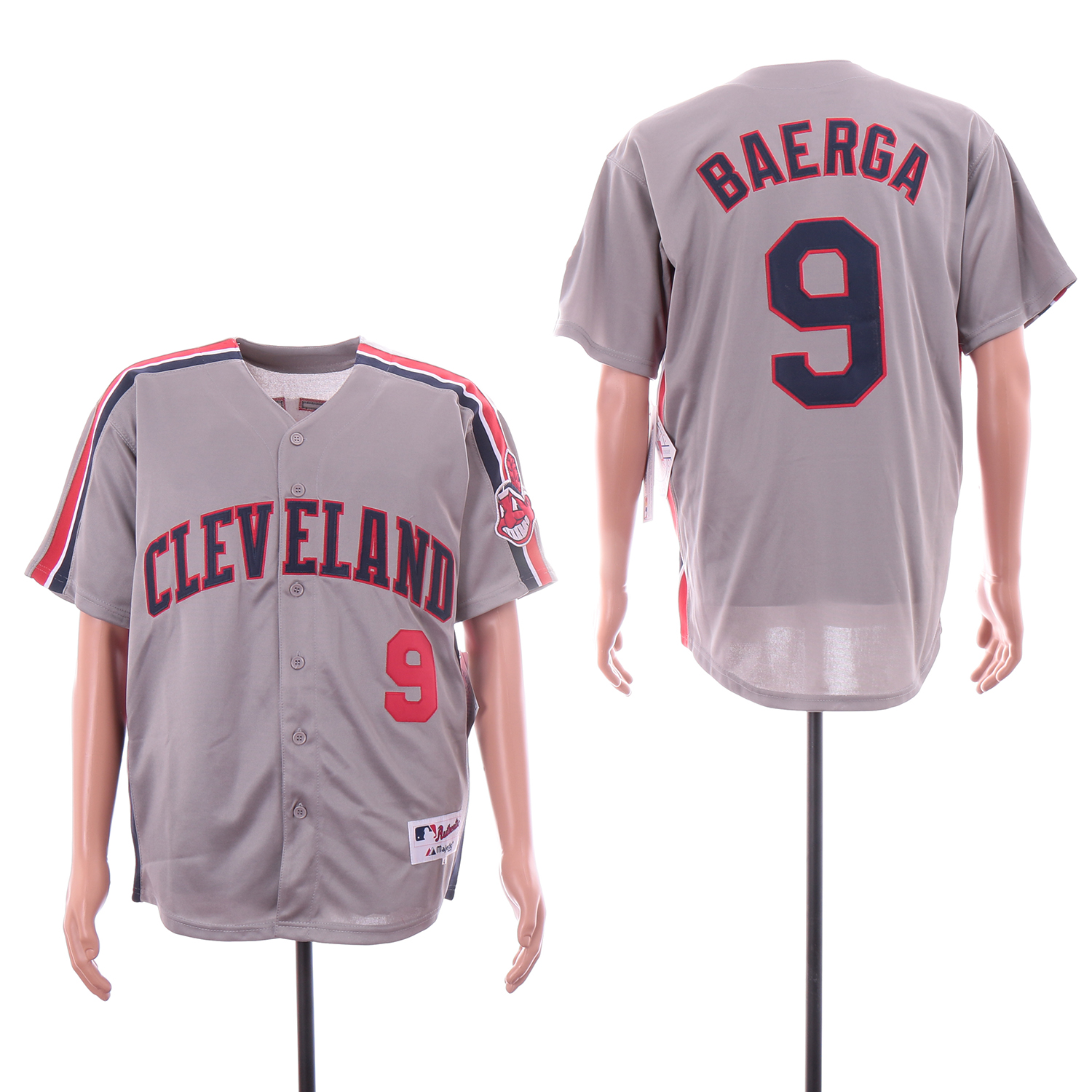 Indians 9 Carlos Baerga Gray Turn Back The Clock Jersey