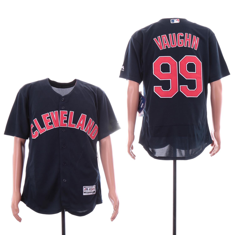 Indians 99 Ricky Vaughn Navy Flexbase Jersey