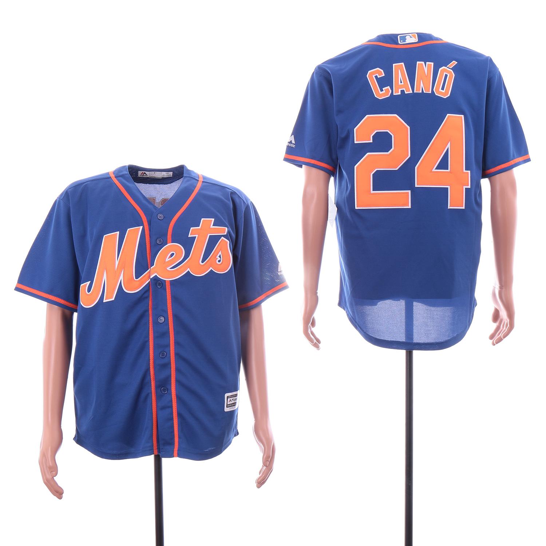 Mets 24 Robinson Cano Royal Cool Base Jersey