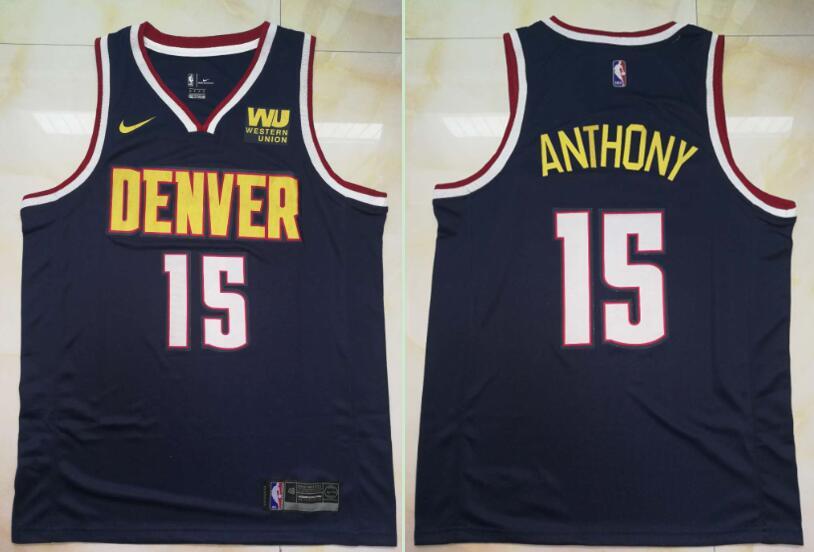 Nuggets 15 Carmelo Anthony Navy Nike Swingman Jersey