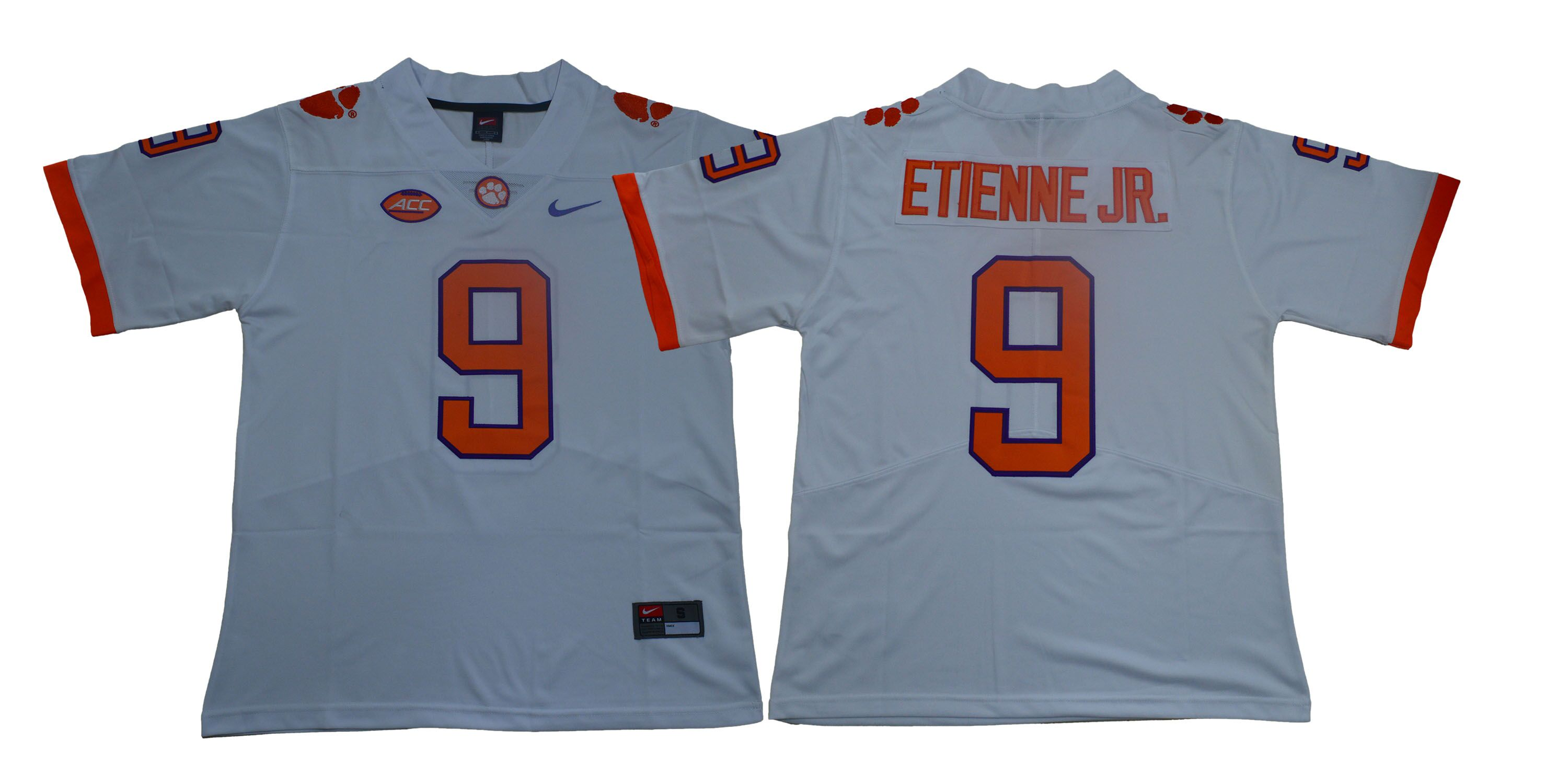 Clemson Tigers 9 Travis Etienne Jr. White Nike College Football Jersey