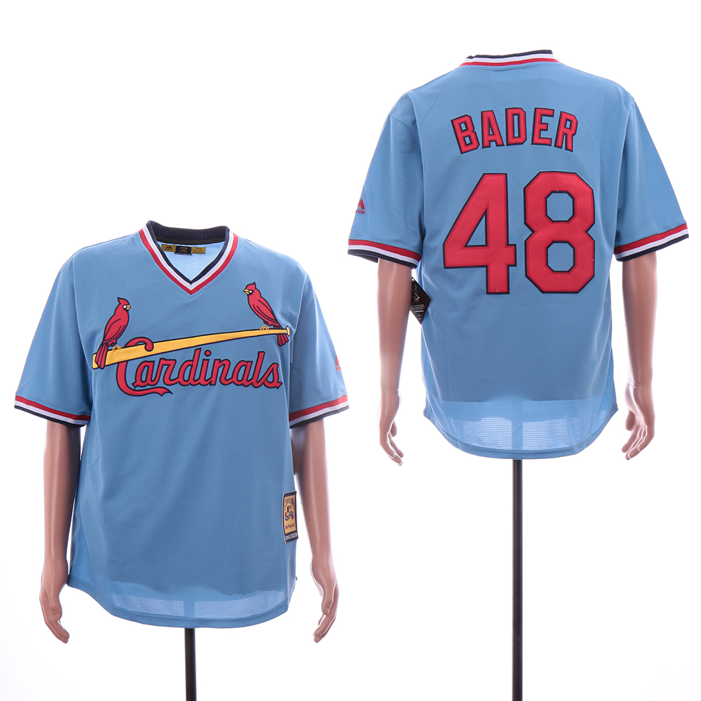 Cardinals 48 Harrison Bader Light Blue Throwback Cool Base Jersey