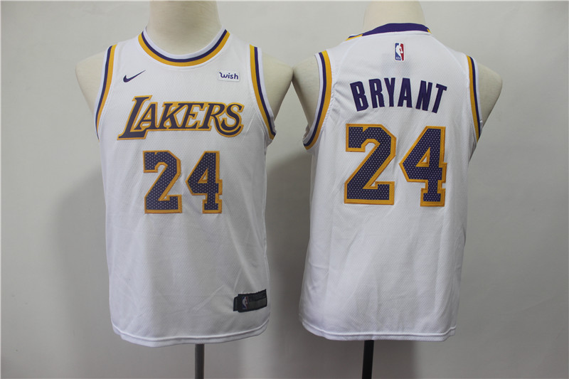 Lakers 24 Kobe Bryant White 2018-19 Youth Nike Swingman Jersey