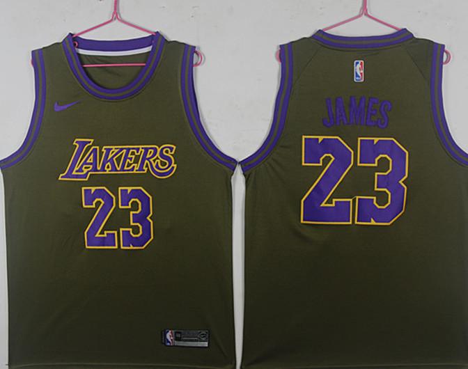 Lakers 23 Lebron James Olive Nike Swingman Jersey