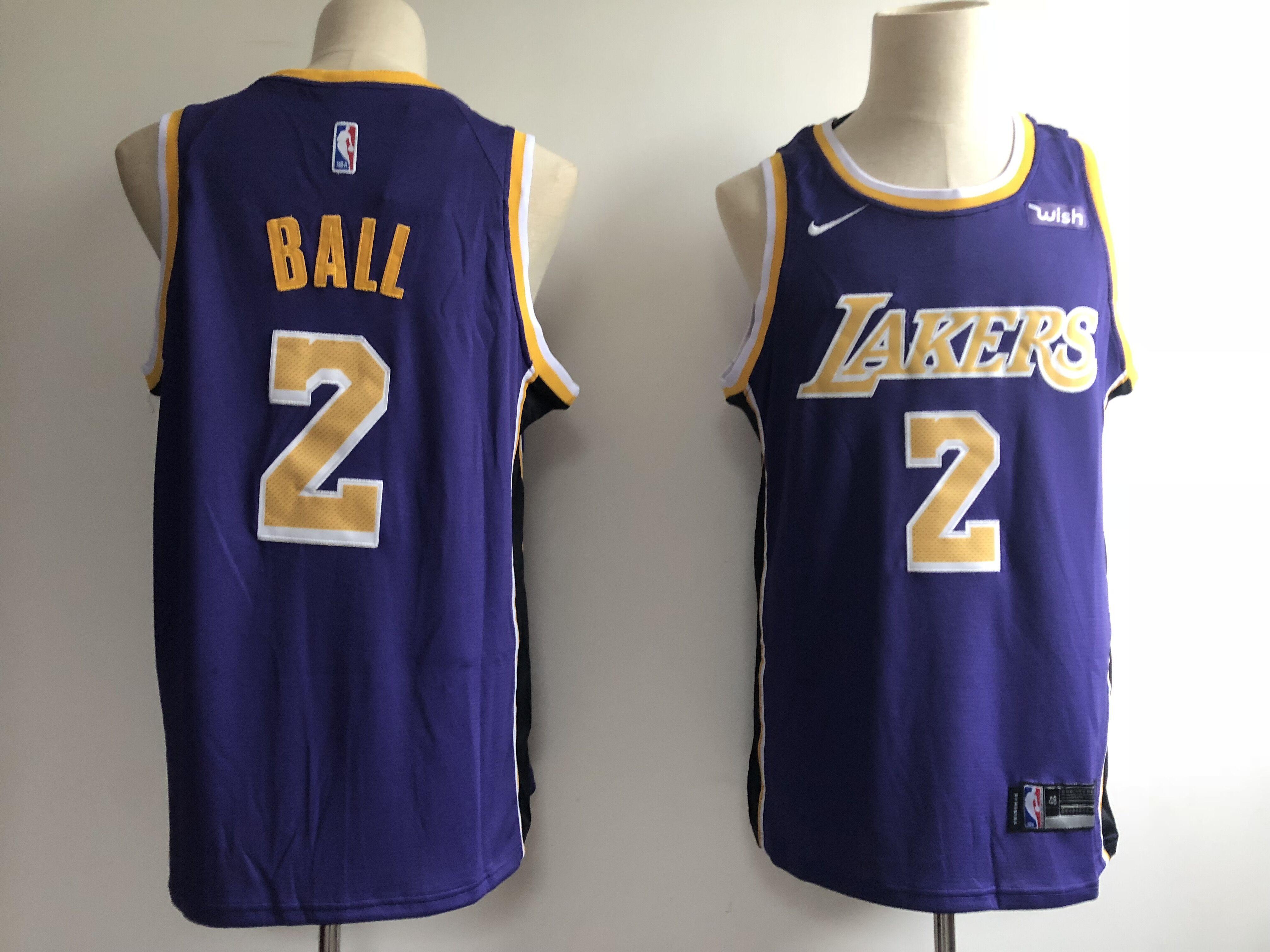 Lakers 2 Lonzo Ball Purple 2018-19 Nike Swingman Jersey