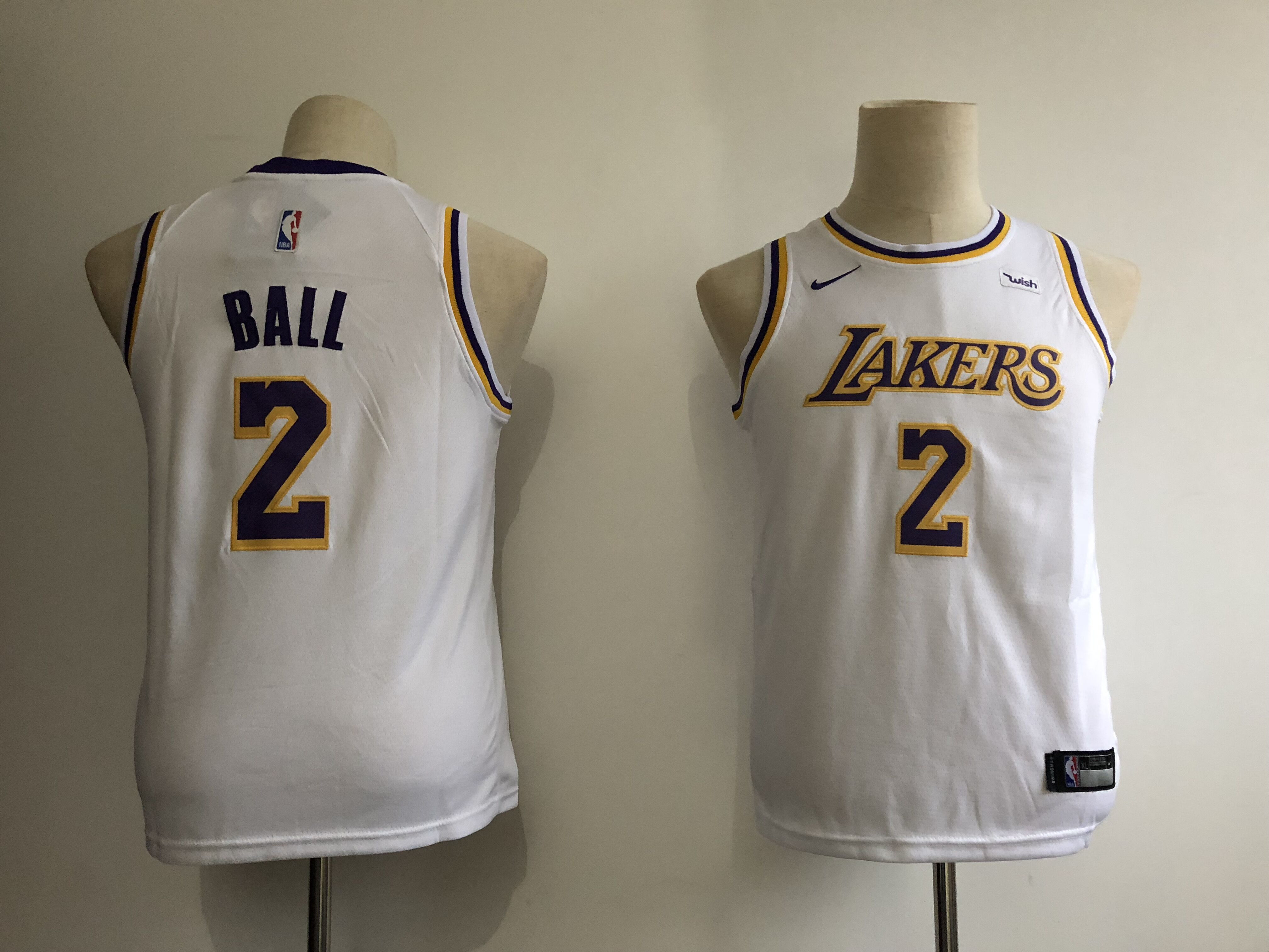 Lakers 2 Lonzo Ball White Youth 2018-19 Nike Swingman Jersey