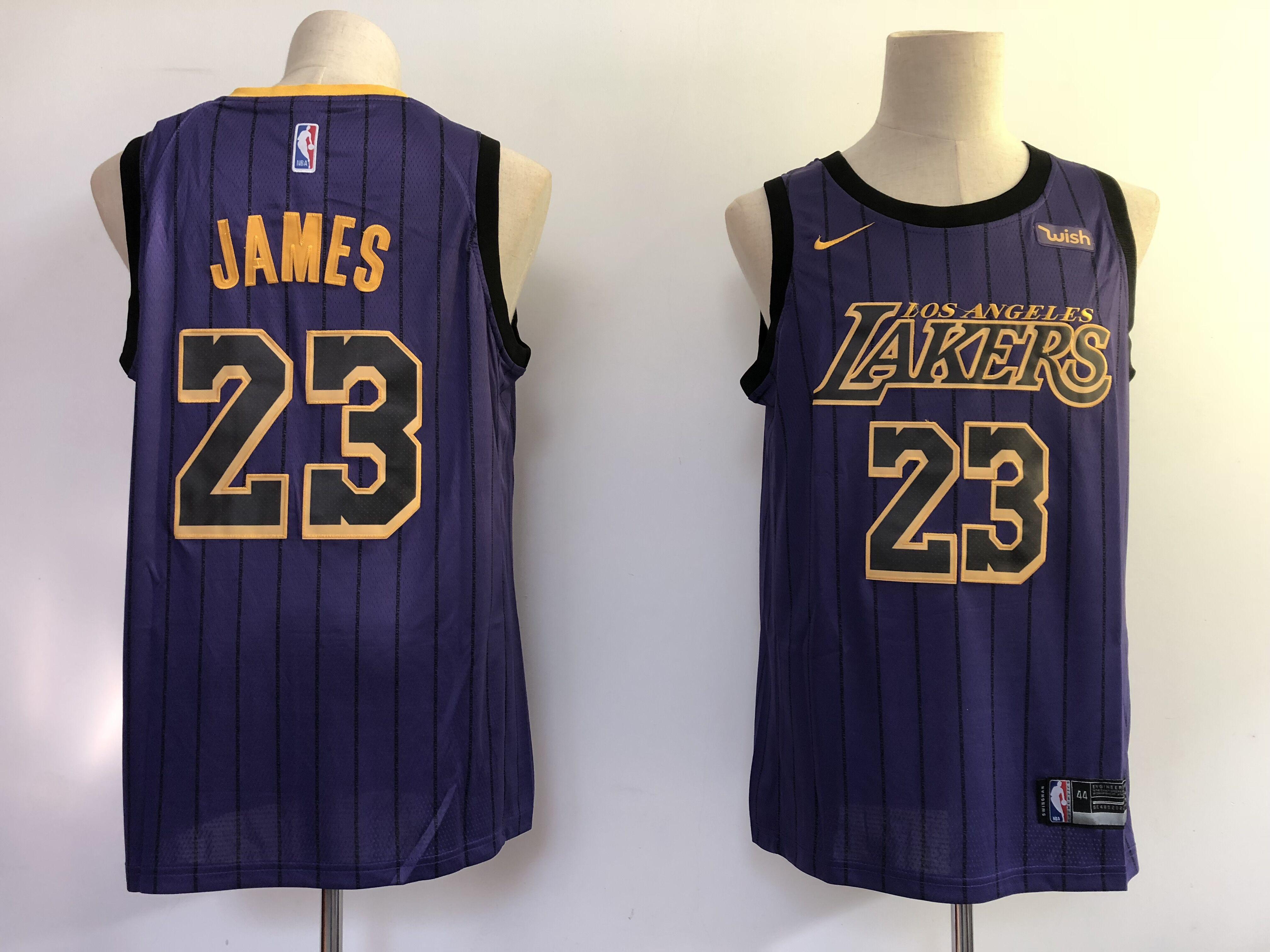 Lakers 23 Lebron James Purple 2018-19 City Edition Nike Swingman Jersey