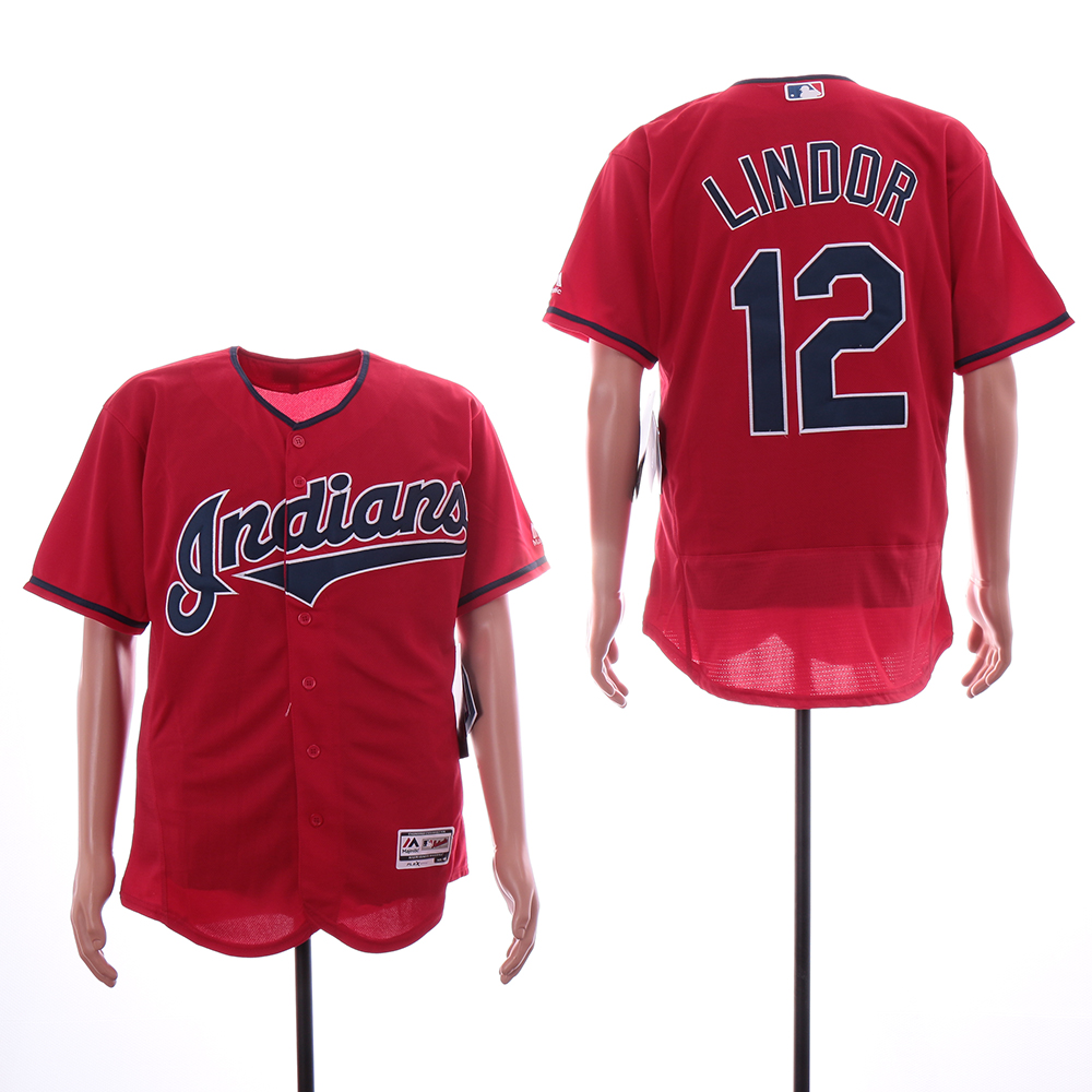 Indians 12 Francisco Lindor Red Flexbase Jersey