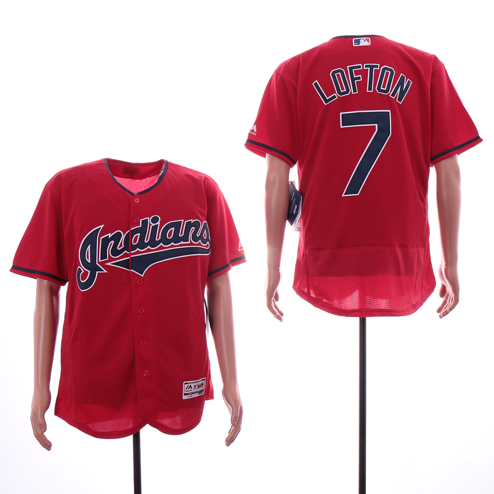 Indians 7 Kenny Lofton Red Flexbase Jersey