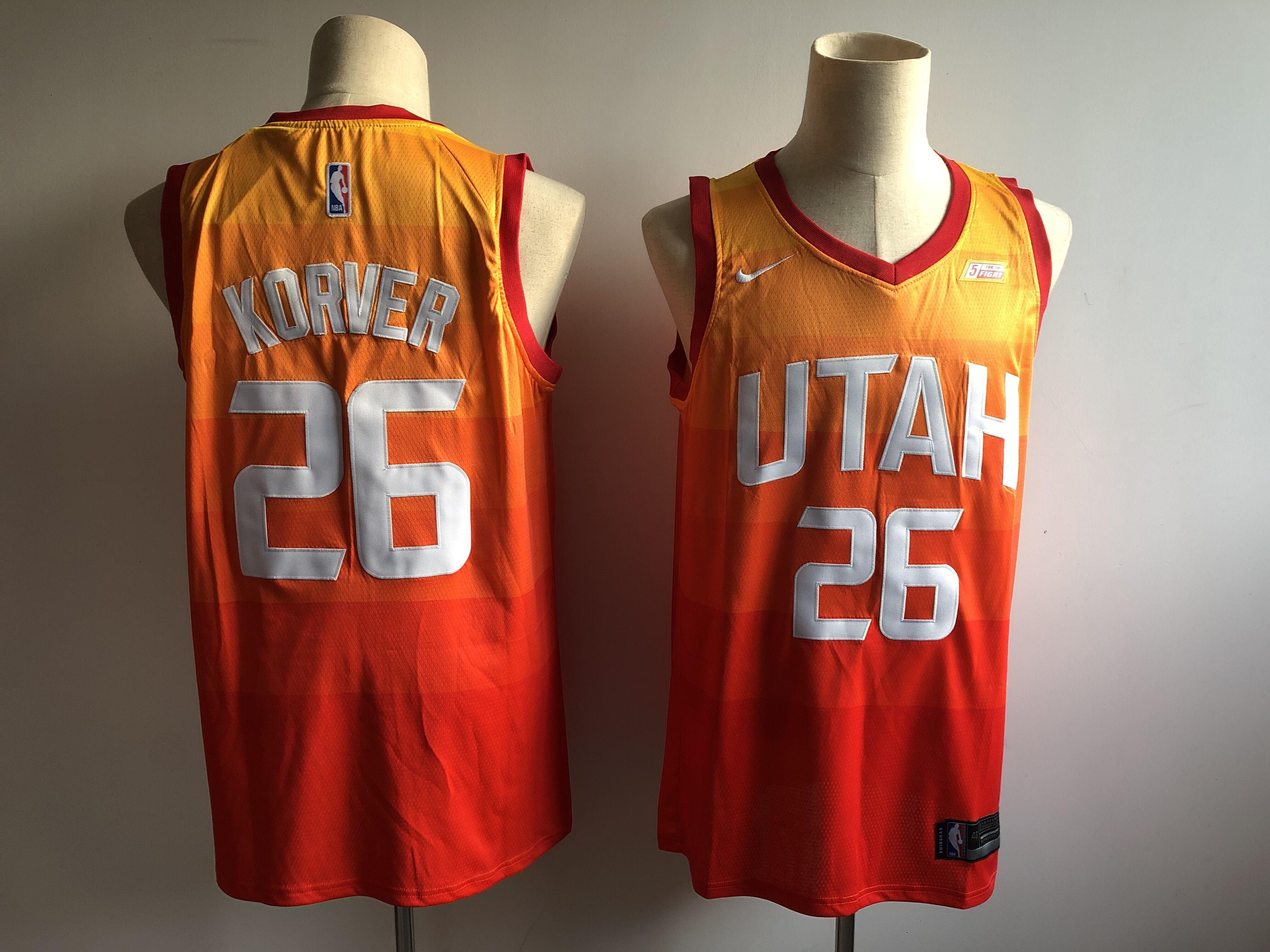 Jazz 25 Kyle Korver Orange 2018-19 City Edition Nike Swingman Jersey