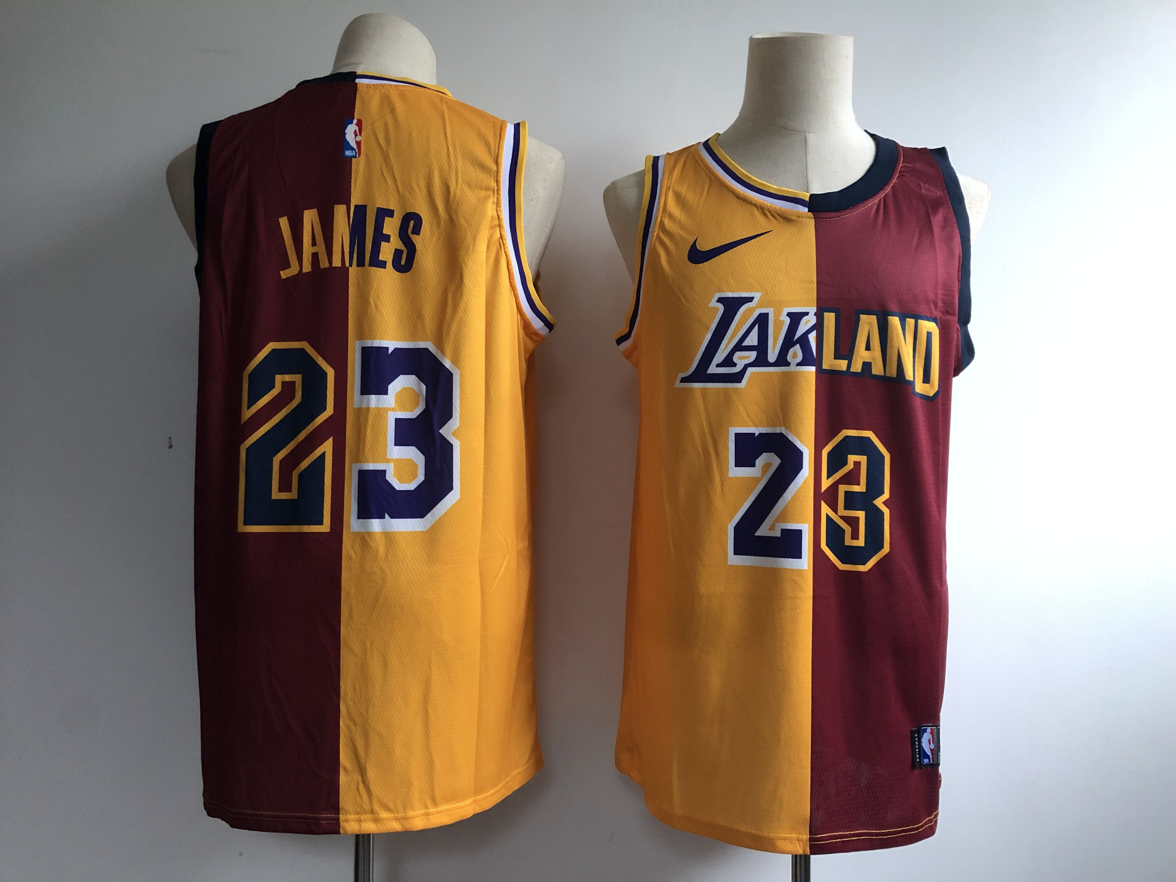 Lakers 23 Lebron James Gold Burgundy Split Nike Swingman Jersey