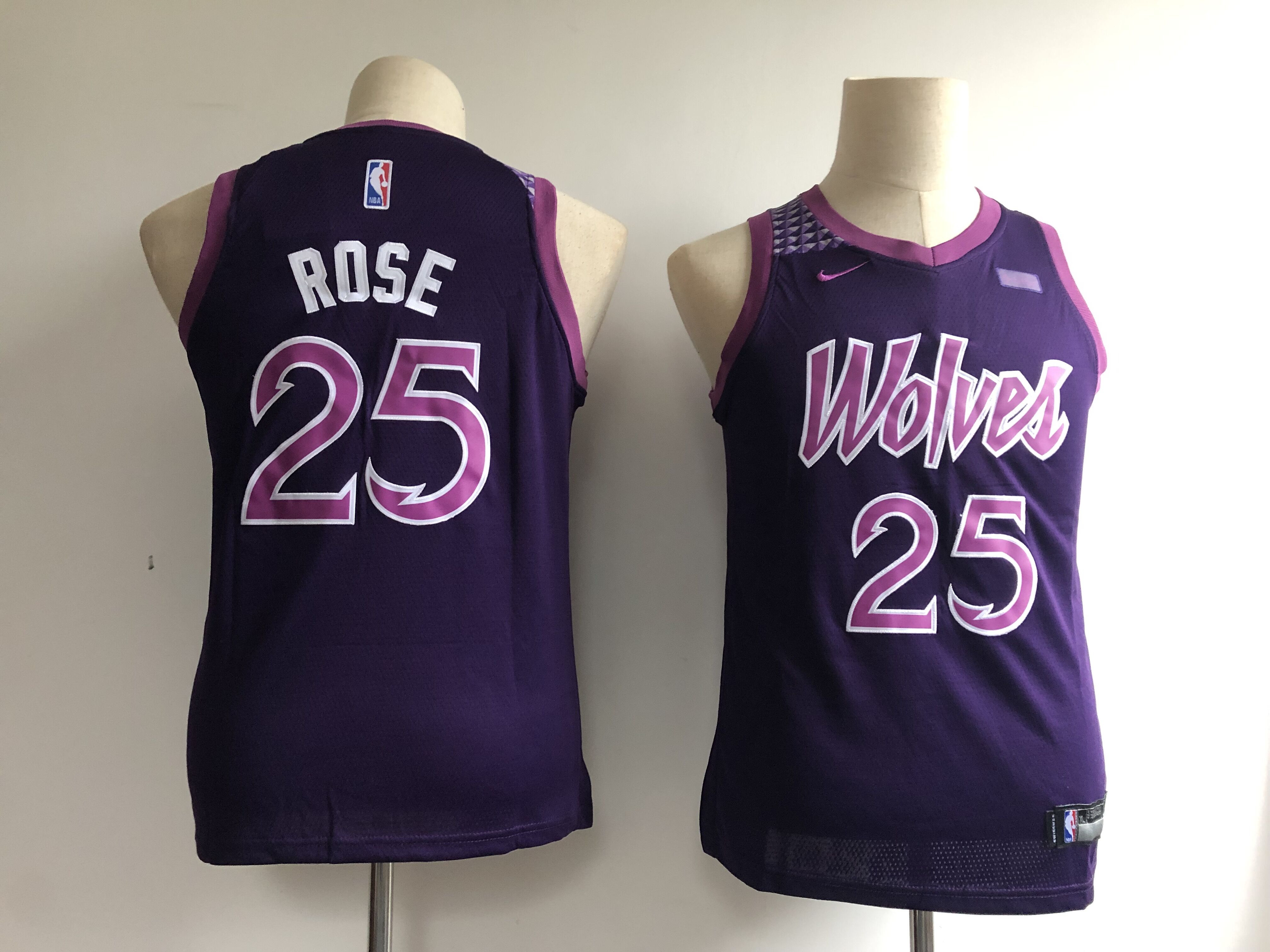 Timberwolves 25 Derrick Rose Purple Youth 2018-19 City Edition Nike Swingman Jersey