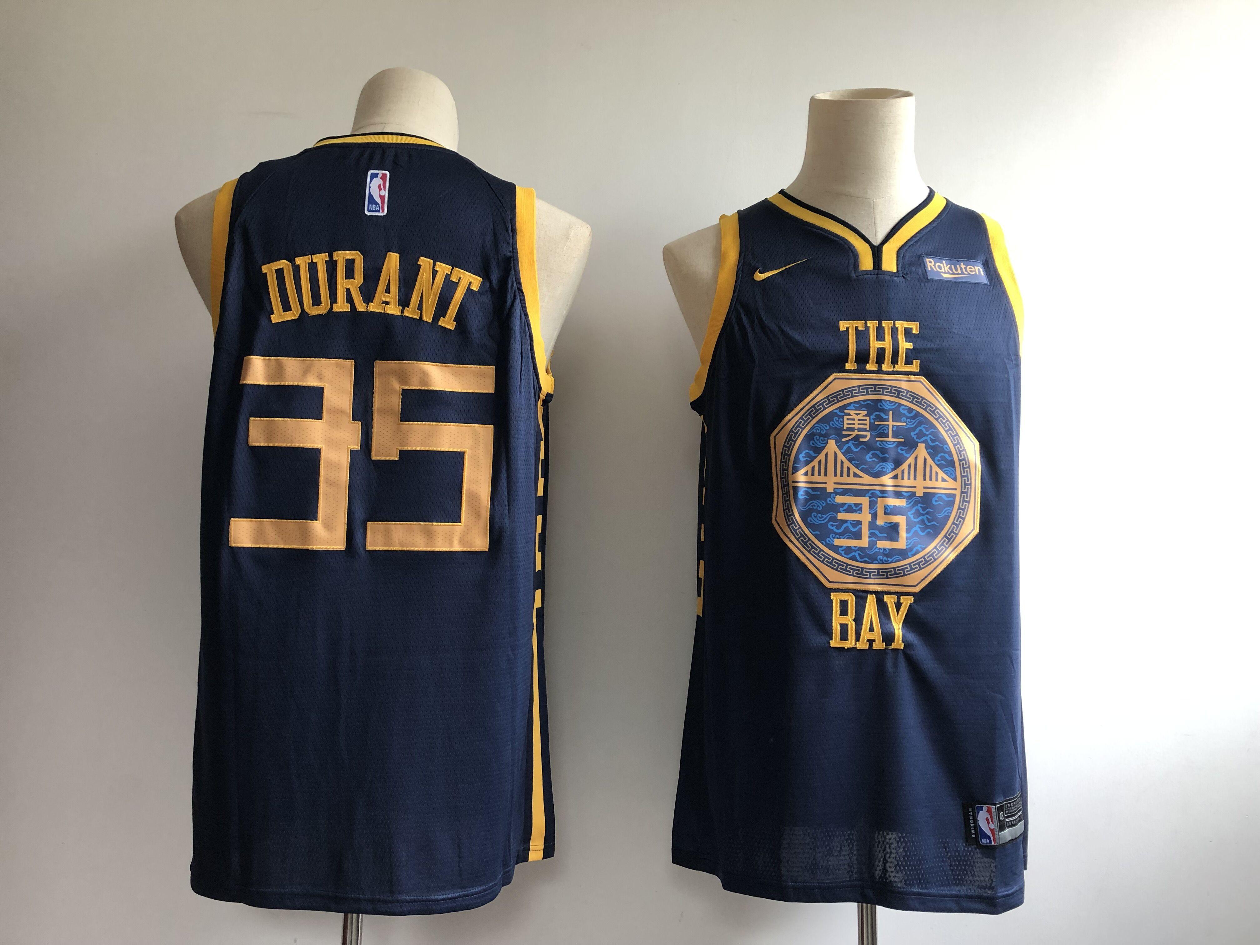 Warriors 35 Kevin Durant Navy 2018-19 City Edition Nike Swingman Jersey