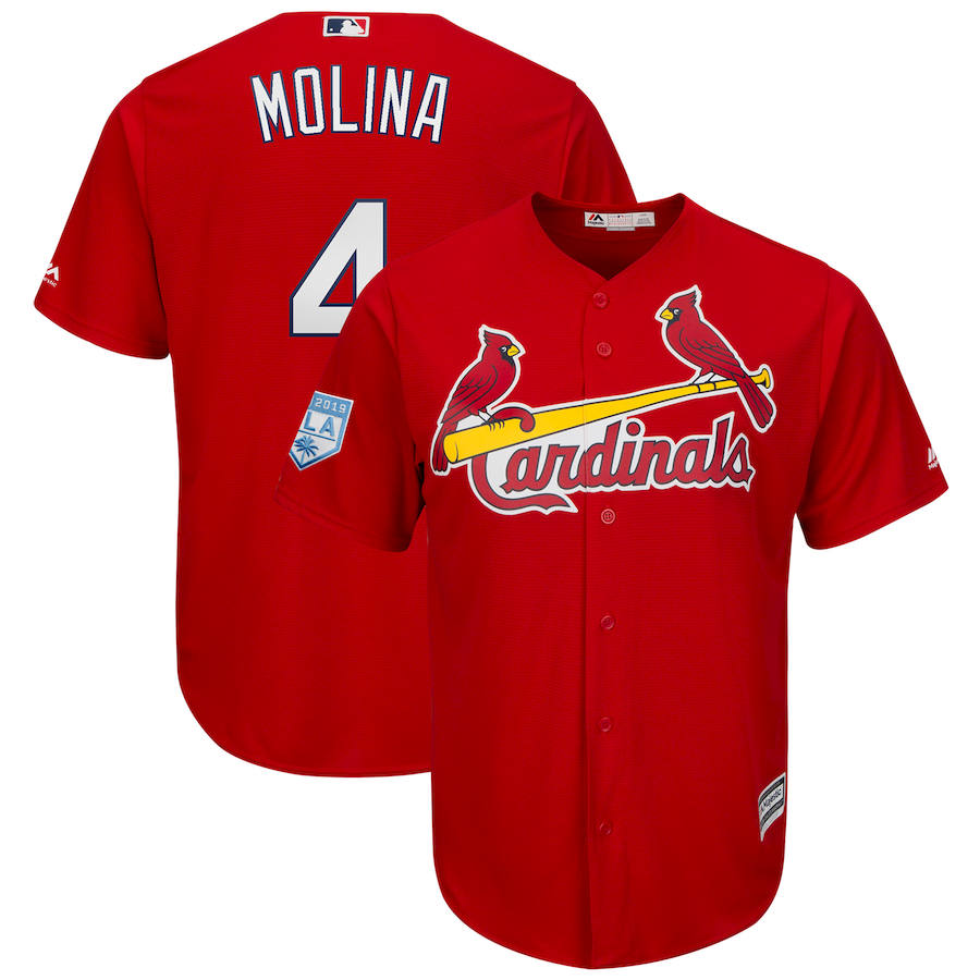 Cardinals 4 Yadier Molina Red 2019 Spring Training Cool Base Jersey