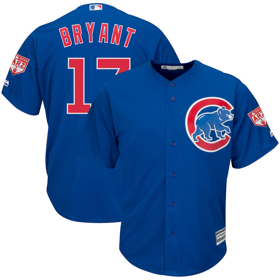 Cubs 17 Kris Bryant Royal 2019 Spring Training Cool Base Jersey
