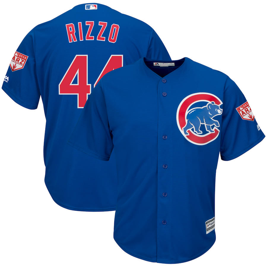 Cubs 44 Anthony Rizzo Royal 2019 Spring Training Cool Base Jersey