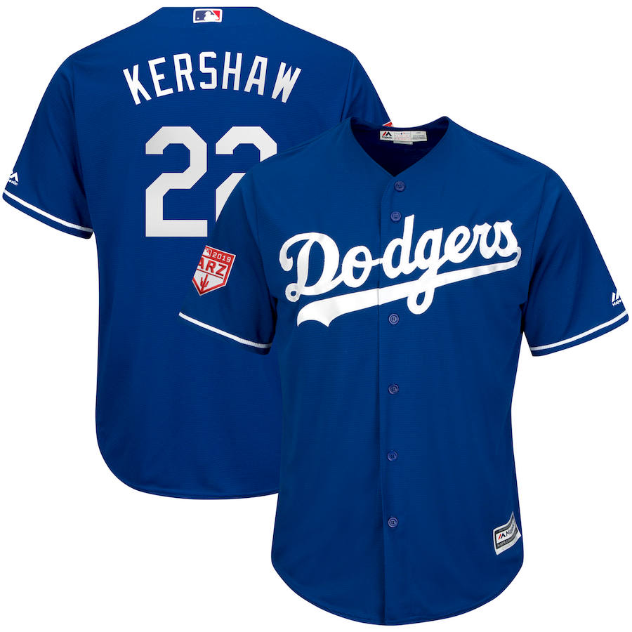 Dodgers 22 Clayton Kershaw Royal 2019 Spring Training Cool Base Jersey