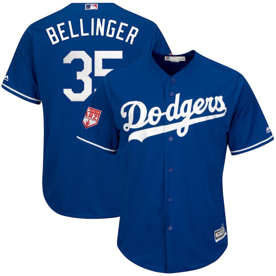 Dodgers 35 Cody Bellinger Royal 2019 Spring Training Cool Base Jersey