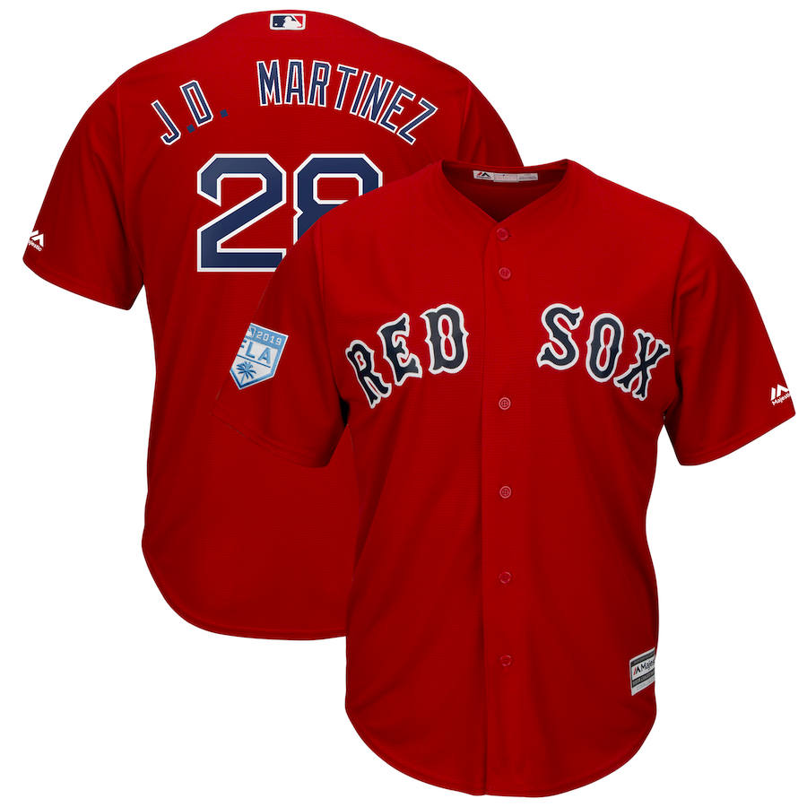 Red Sox 28 J.D. Martinez Red 2019 Spring Training Cool Base Jersey
