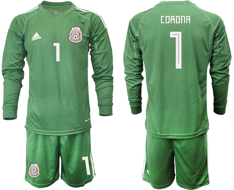 Mexico 1 CORONA Army Green 2018 FIFA World Cup Long Sleeve Goalkeeper Soccer Jersey