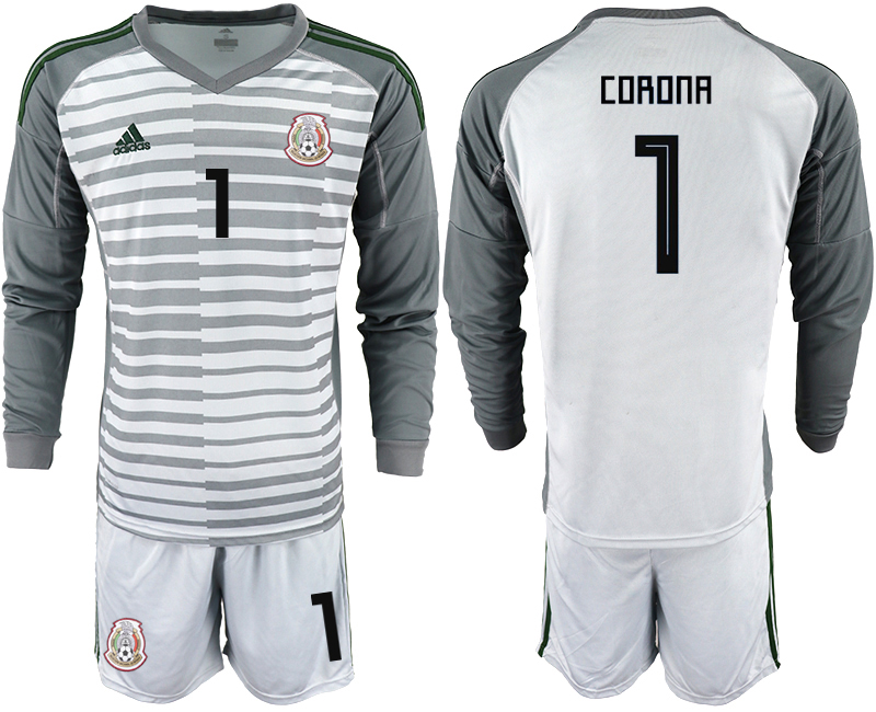 Mexico 1 CORONA Gray 2018 FIFA World Cup Long Sleeve Goalkeeper Soccer Jersey