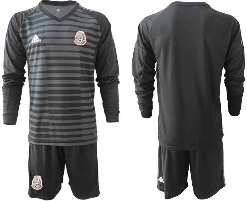 Mexico Black 2018 FIFA World Cup Long Sleeve Goalkeeper Soccer Jersey