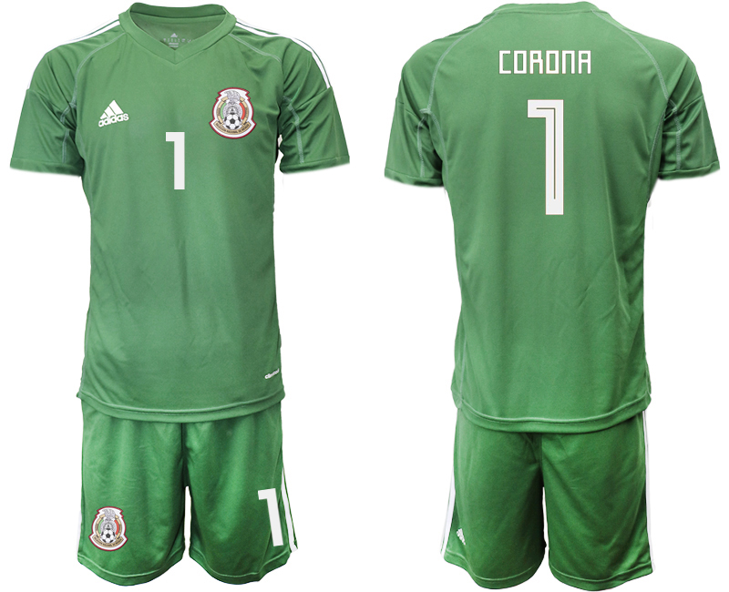 Mexico 1 CORONA Army Green 2018 FIFA World Cup Goalkeeper Soccer Jersey