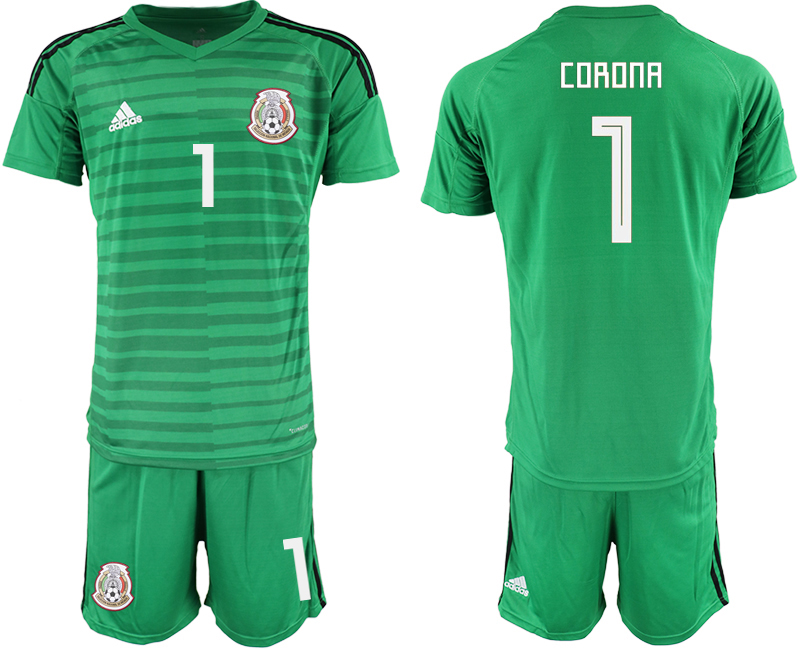 Mexico 1 CORONA Green 2018 FIFA World Cup Goalkeeper Soccer Jersey