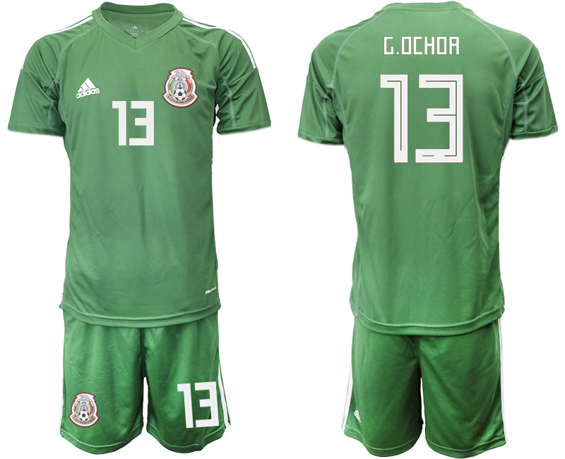 Mexico 13 G.OCHOA Army Green Goalkeeper Soccer Jersey