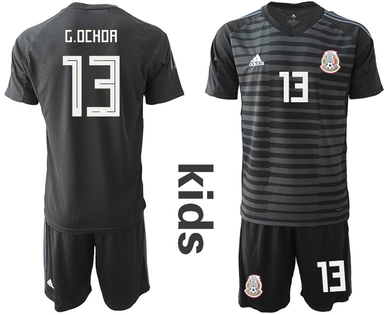 Mexico 13 G.OCHOA Black Youth 2018 FIFA World Cup Goalkeeper Soccer Jersey
