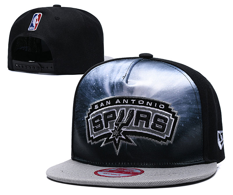 Spurs Galaxy Logo Black Adjustable Hat TX