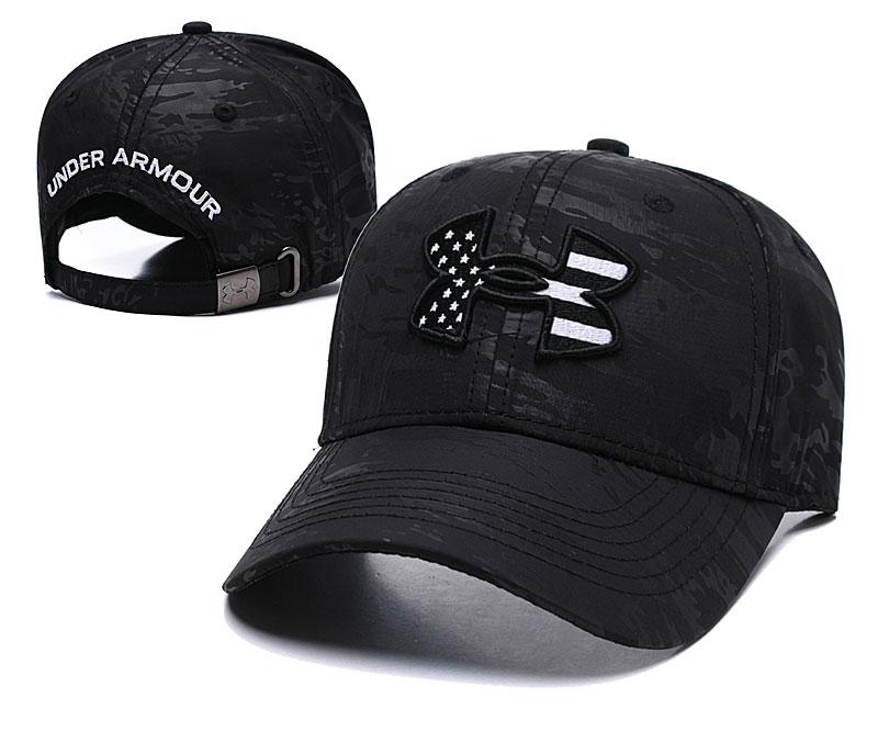 Under Armour USA Flag Pure Black Peaked Adjustable Hat TX