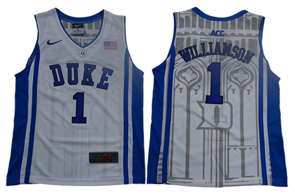 Duke Blue Devils 1 Zion Williamson White Youth Nike Elite College Basketball Jersey