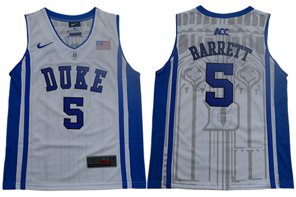 Duke Blue Devils 5 RJ Barrett White Youth Nike Elite College Basketball Jersey