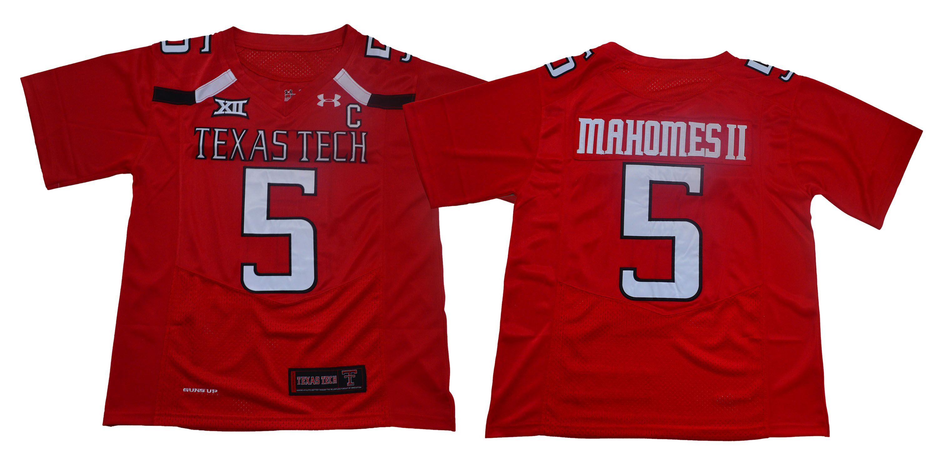 Texas Tech Red Raiders 5 Patrick Mahomes II Black Red C Patch College Football Jersey