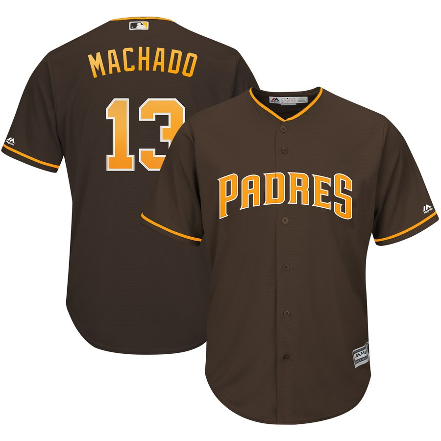 Padres 13 Manny Machado Brown Cool Base Jersey