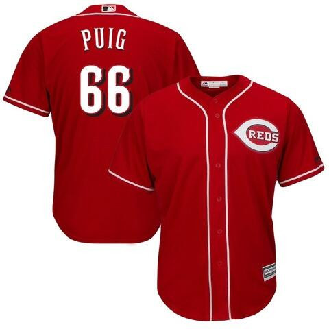 Reds 66 Yasiel Puig Red Cool Base Jersey