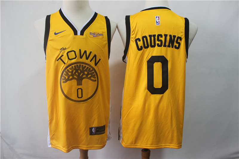 Warriors 0 DeMarcus Cousins Yellow 2018-19 Earned Edition Nike Swingman Jersey