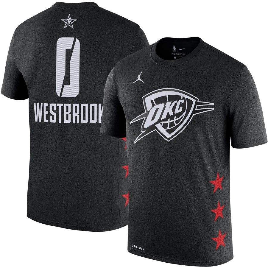 Oklahoma City Thunder 0 Russell Westbrook Jordan Brand 2019 NBA All-Star Game Name & Number T-Shirt Black