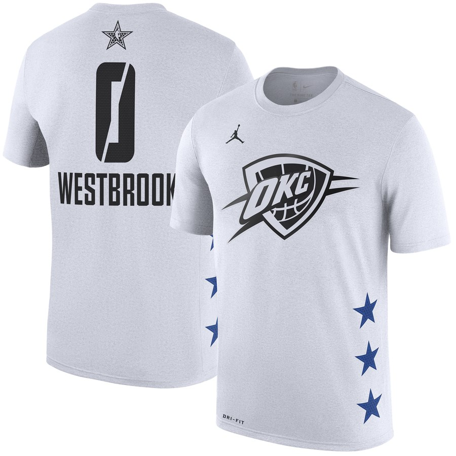 Oklahoma City Thunder 0 Russell Westbrook Jordan Brand 2019 NBA All-Star Game Name & Number T-Shirt Whhite