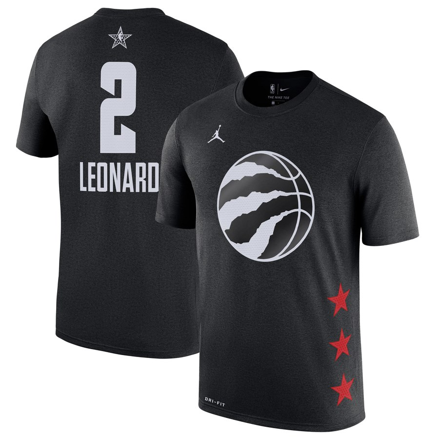 Toronto Raptors 2 Kawhi Leonard Jordan Brand 2019 NBA All-Star Game Name & Number T-Shirt Black