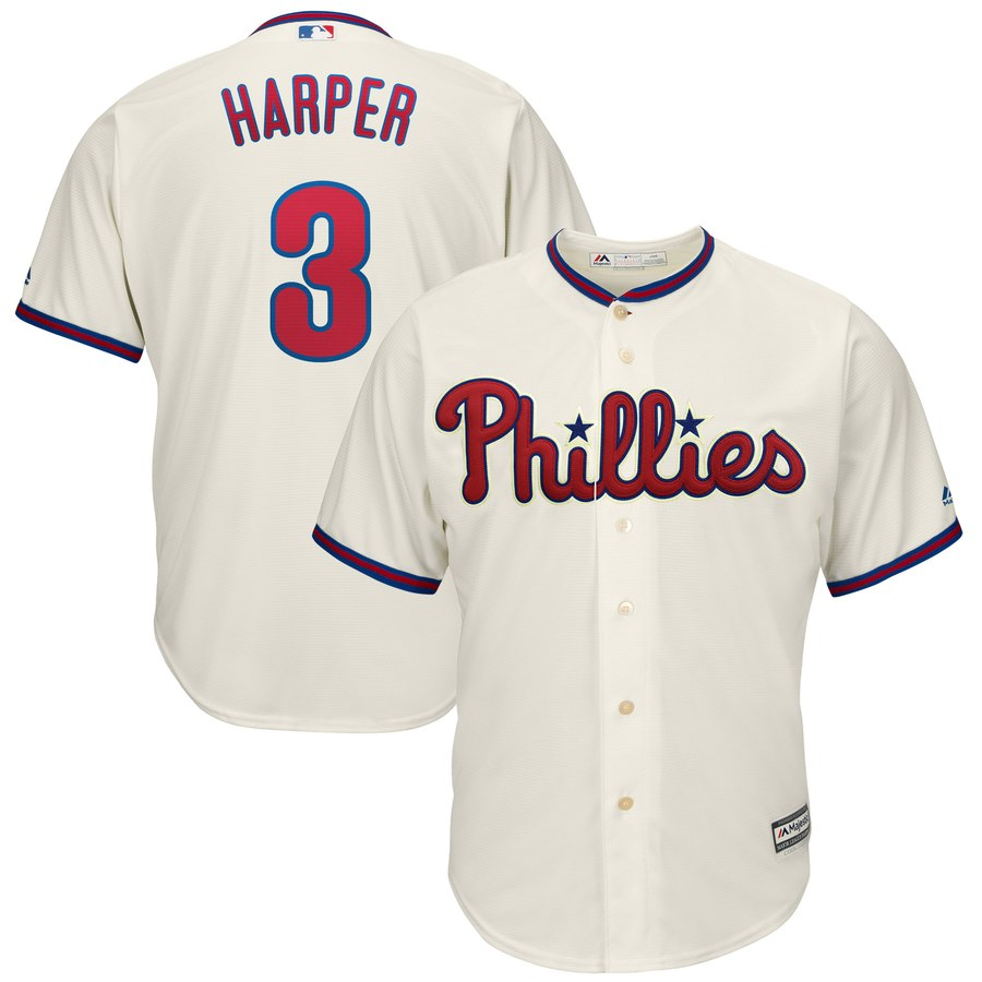 Phillies 3 Bryce Harper Cream Youth Cool Base Jersey