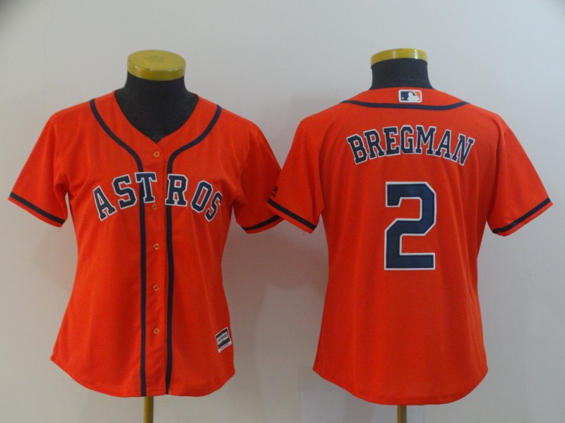 Astros 2 Alex Bregman Orange Women Cool Base Jersey