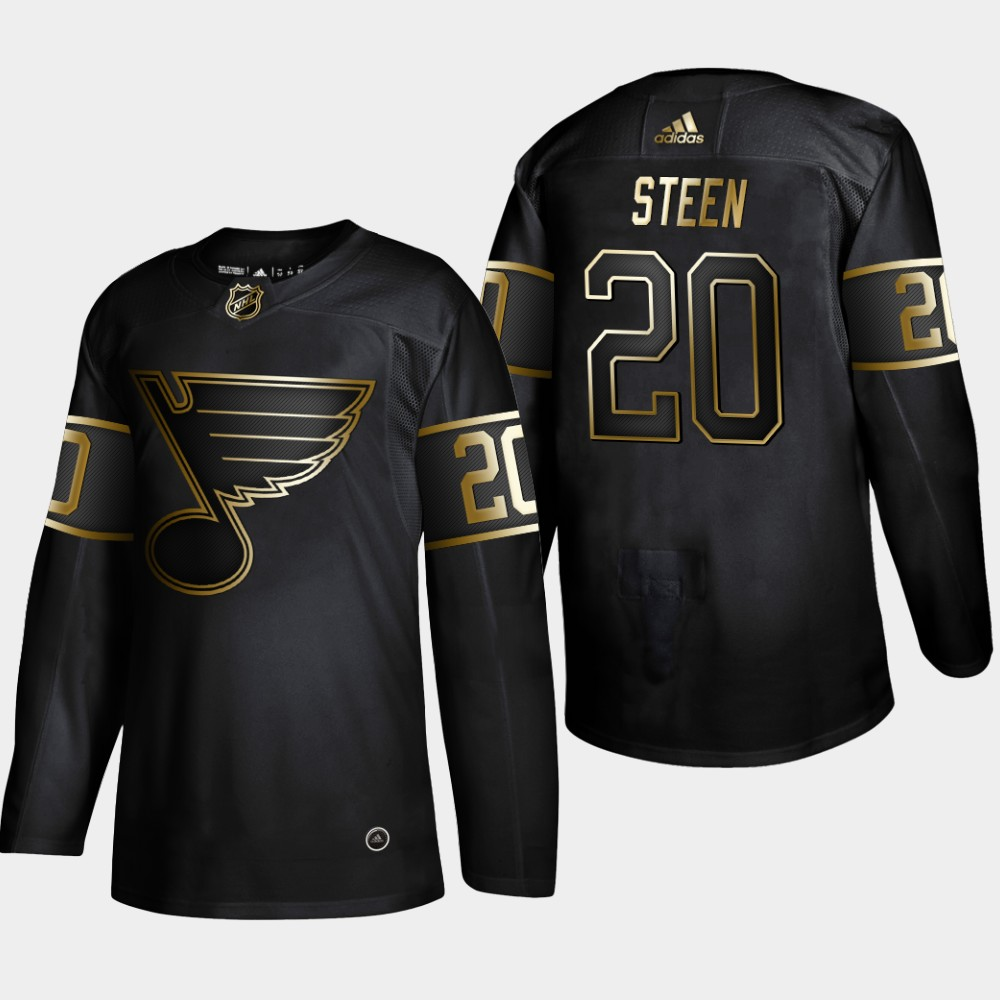 Blues 20 Alexander Steen Black Gold Adidas Jersey