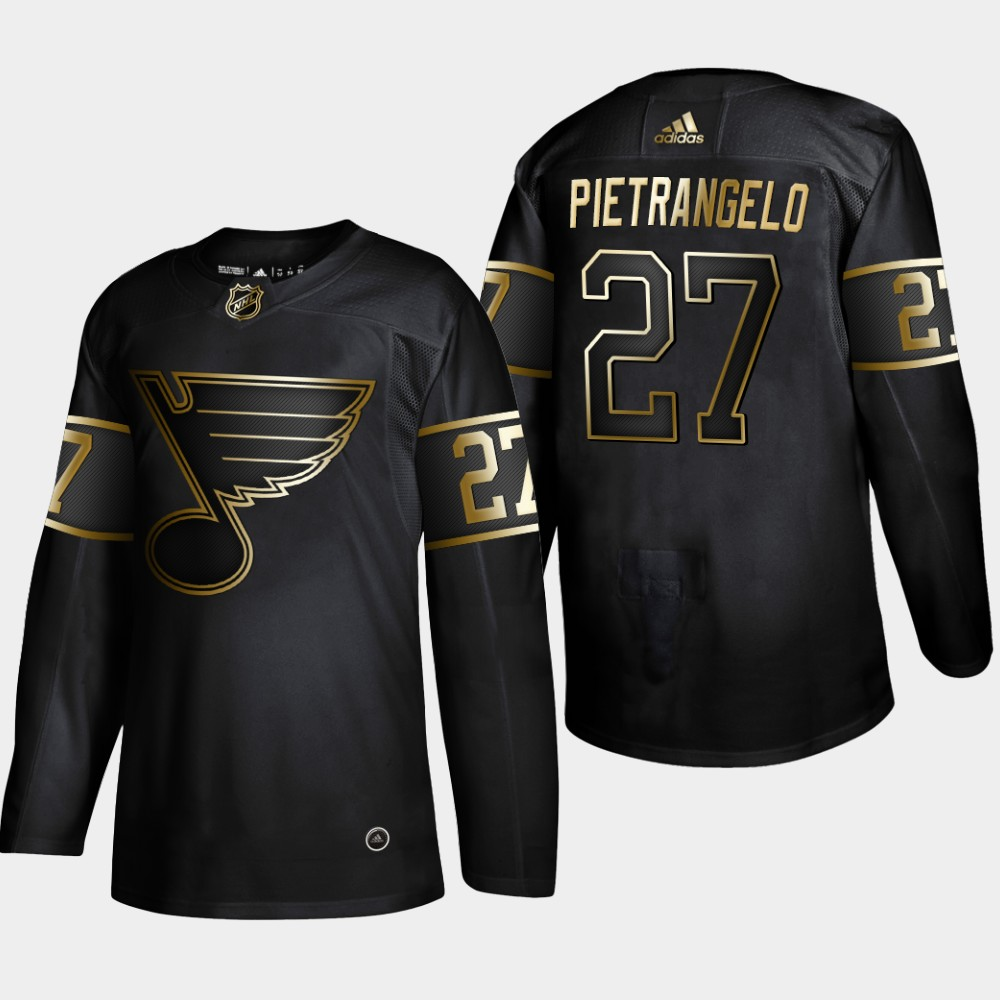 Blues 27 Alex Pietrangelo Black Gold Adidas Jersey