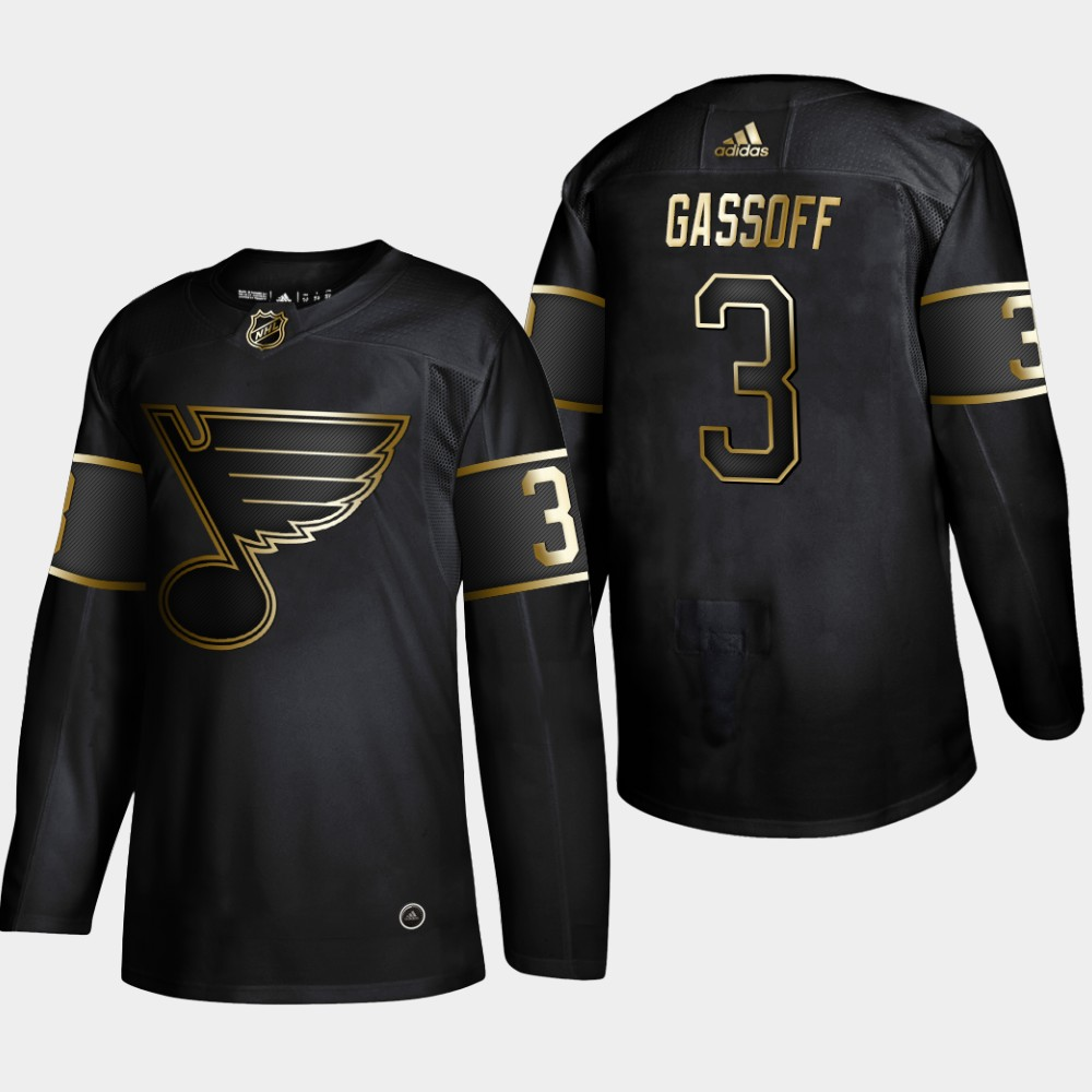 Blues 3 Bob Gassoff Black Gold Adidas Jersey